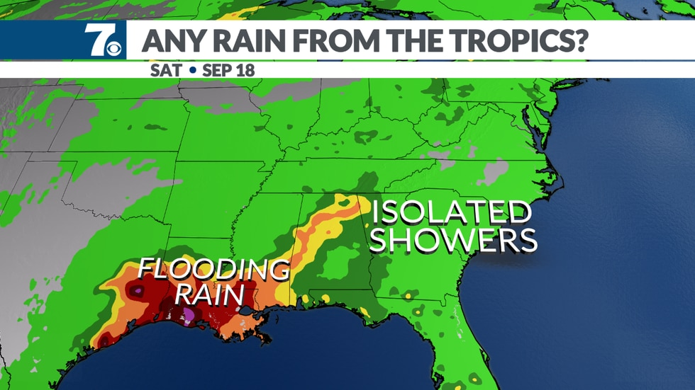 The heaviest rain from Nicholas will remain across the Gulf States. Only a few, stray showers...