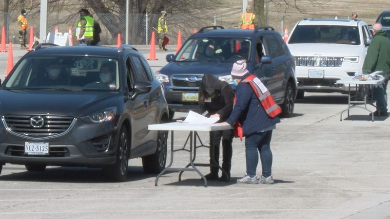 Folks received the Johnson & Johnson COVID-19 vaccine Saturday in a drive-thru at the Berglund...