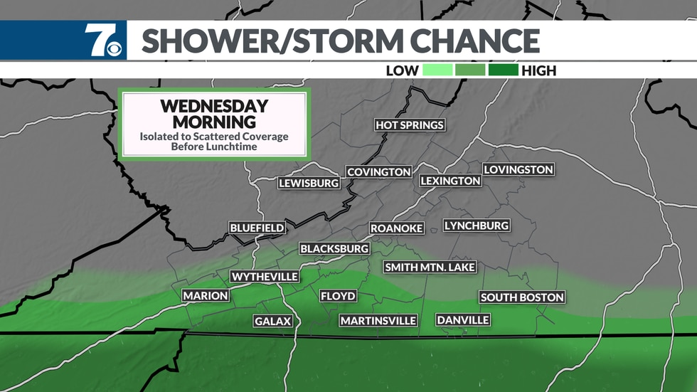 Showers are possible tomorrow, but in limited locations.