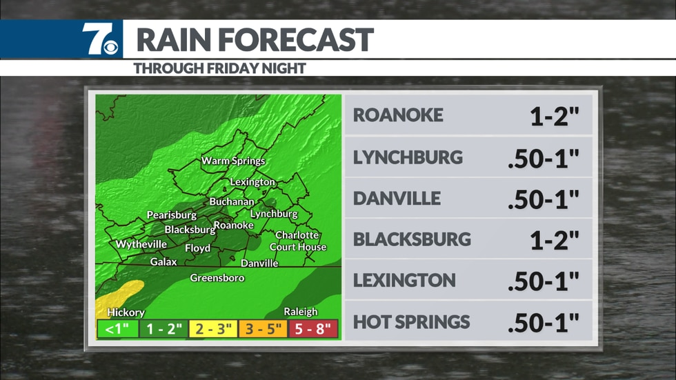 """We could see anywhere between 0.5"""" and 1.5"""" before the system exits Friday evening."""