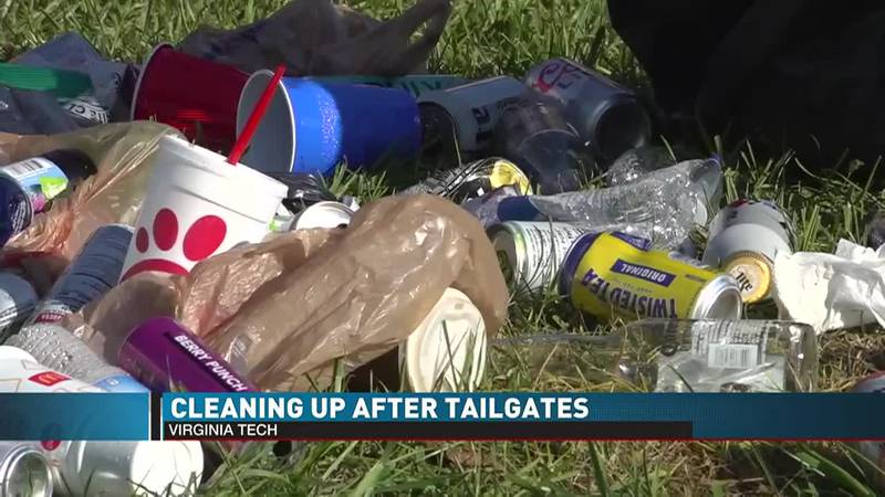 Cleaning up after tailgating at VT