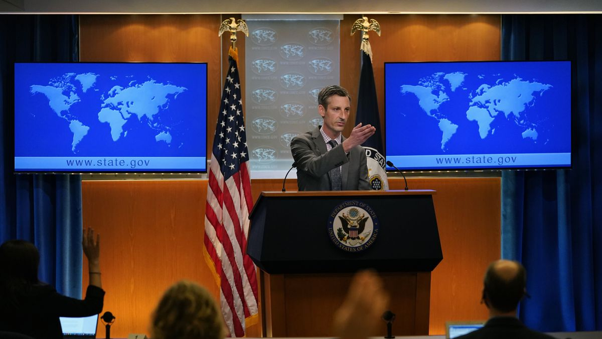State Department spokesman Ned Price takes questions from reporters at the State Department in...