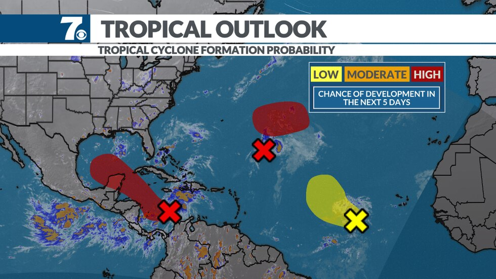 Areas in red have a high likelihood of tropical development in the next 5 days.