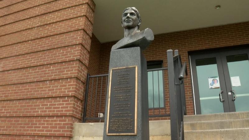 There is a bust of late Roanoke College lacrosse star John Pirro outside Kerr Stadium in Salem.