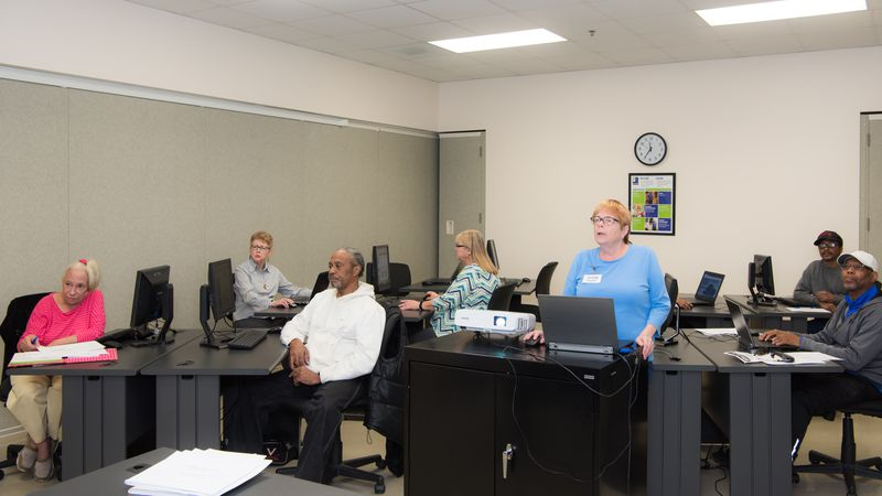 A pre-COVID instructor led course at the Roanoke Jobs Campus