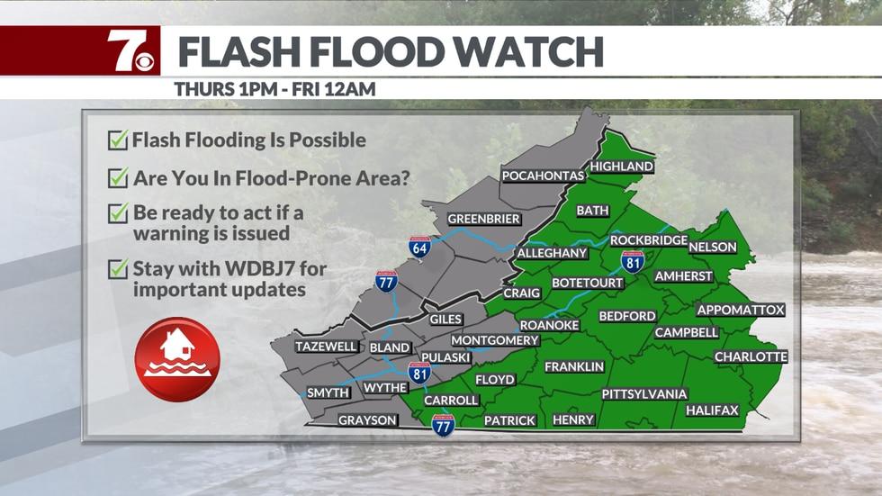 Flash Flood Watch begins Thursday afternoon.