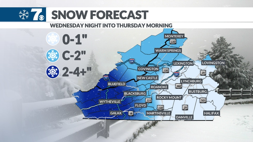 The heaviest snow will be in the NRV with several inches possible. Lesser amounts to the east.