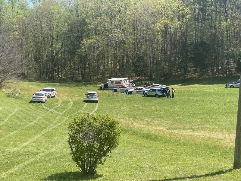 The chase, involving a stolen ambulance, came to an end in the 3600 block of County Line Road...