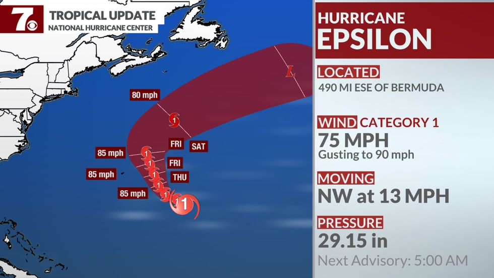 Here's the latest on Hurricane Epsilon.