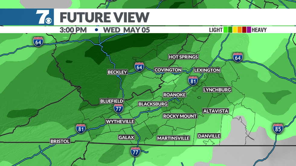 A cold front bring more rain chance on Wednesday.