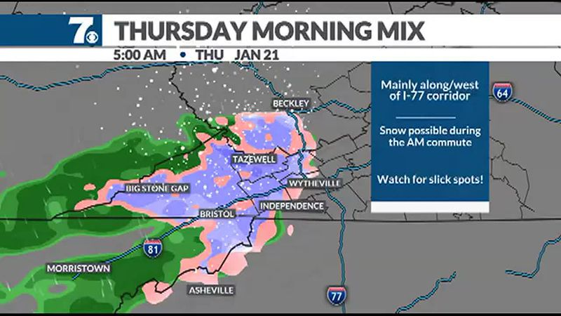 A few snow showers are possible Thursday morning as a storm moves to our south.