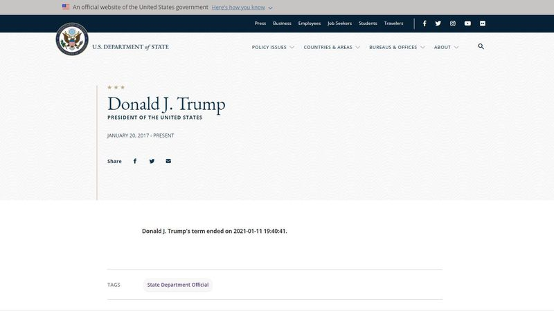 The biography page for President Donald Trump on the U.S. State Department's website was...
