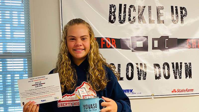 11th grader Bailey Dills hopes to encourage other students to commit to safe driving