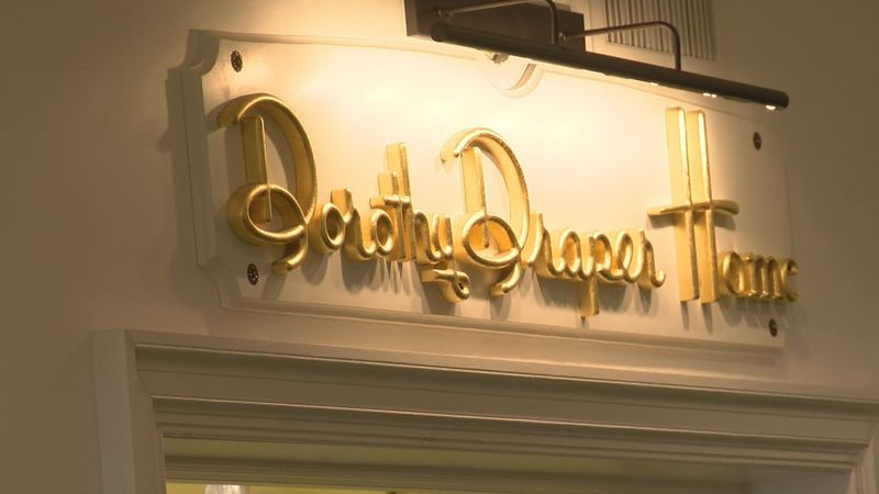 The sign marking the Dorothy Draper Home store in The Greenbrier resort.