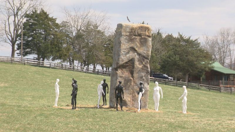 "A ""mysterious"" monolith surrounded by figures appeared in a farmer's field in Rockbridge..."