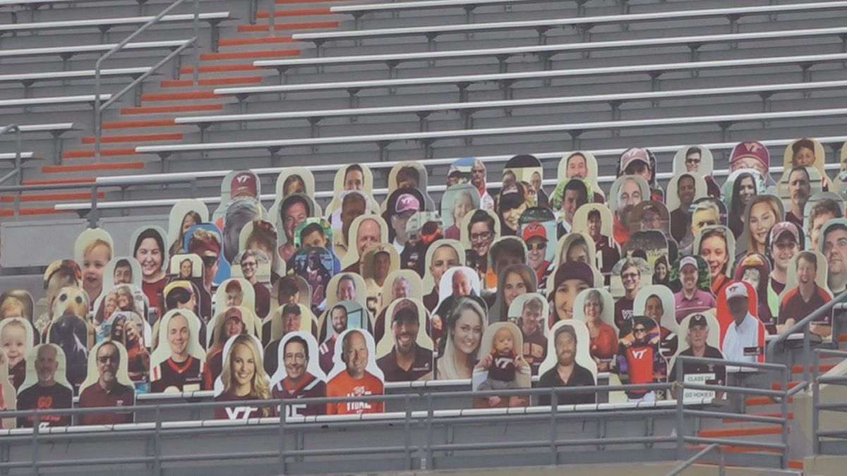 These cutouts of fans are now in Lane Stadium.
