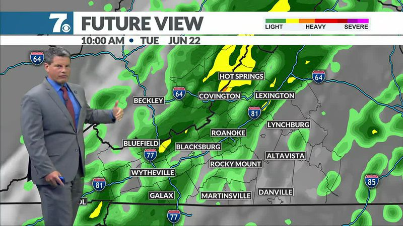A cold front brings scattered showers and storms early Tuesday followed by cooler, drier air.