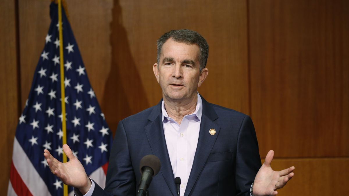 FILE - In this April 8, 2020, file photo, Virginia Gov. Ralph Northam gestures during a news...