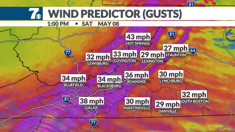 Gusty winds expected behind the front.