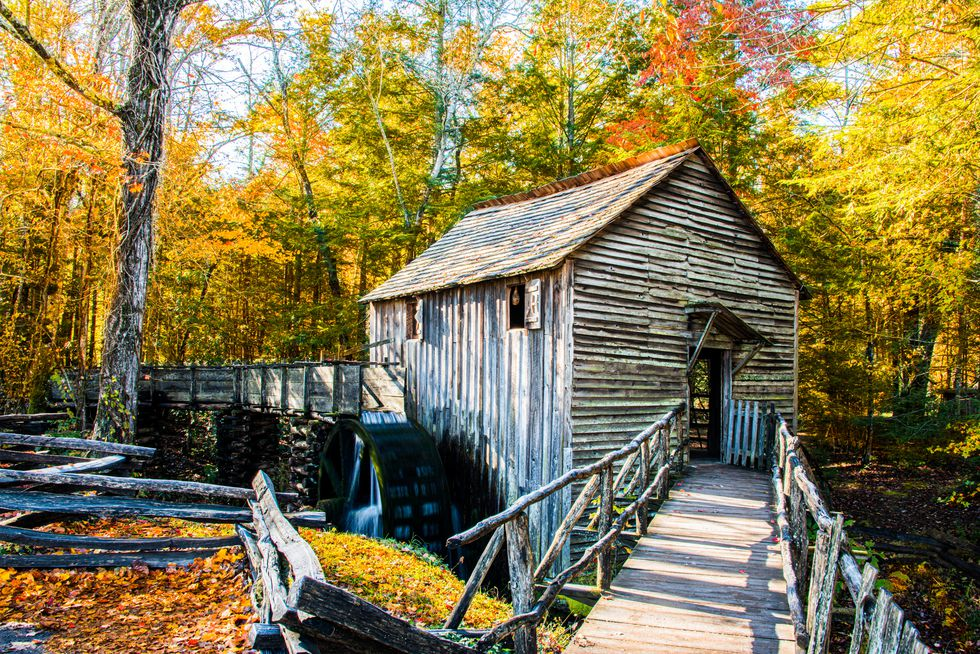 Cades Cove mill and bridge in the autumn.  Great Smokey Mountains National Park.