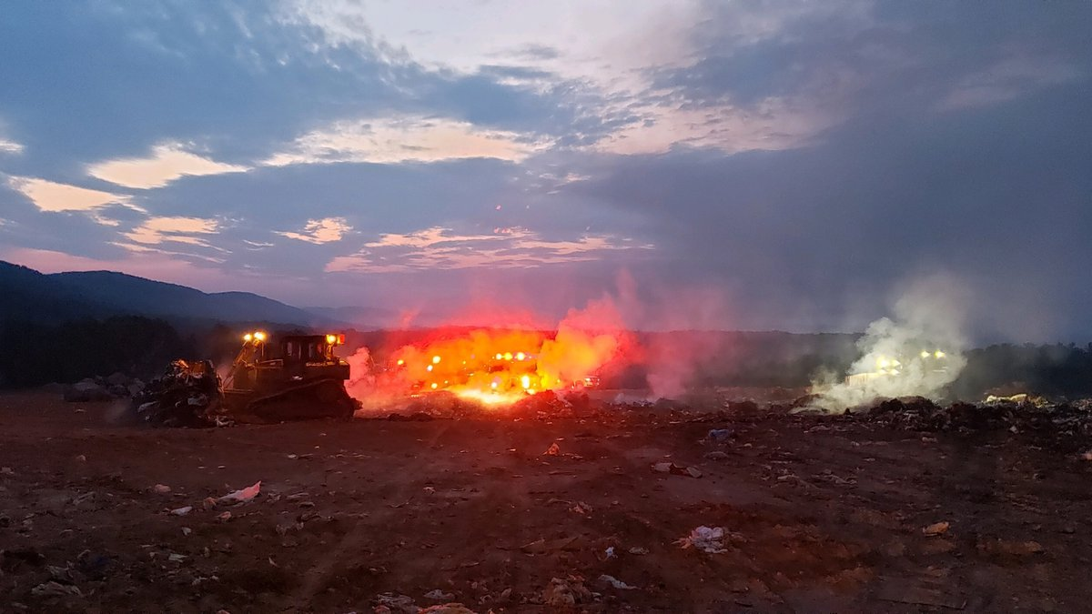 Crews respond to landfill fire in Pulaski County Monday morning.