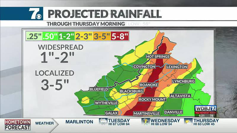 Heavy rain is possible at times Tuesday and Wednesday.