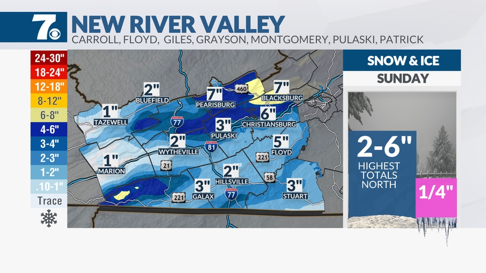 Snow totals through Sunday.