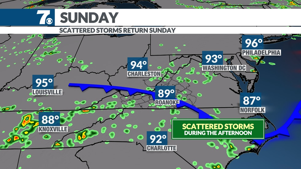 More storm coverage expected Sunday afternoon.