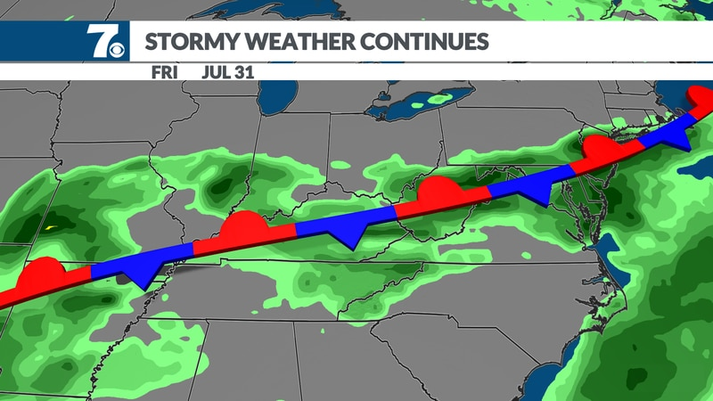 A stationary boundary will keep the chance of showers and storms going.