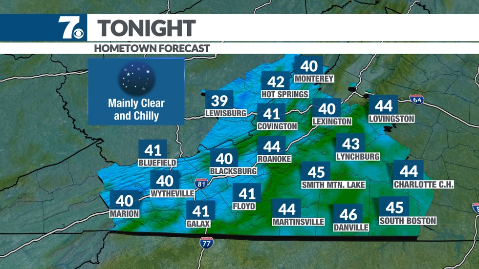 Clear and chilly tonight.