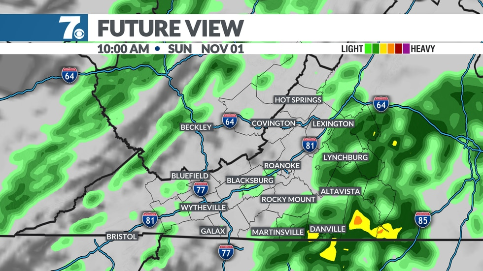 A few rain showers are possible early Sunday morning, clearing during the afternoon.