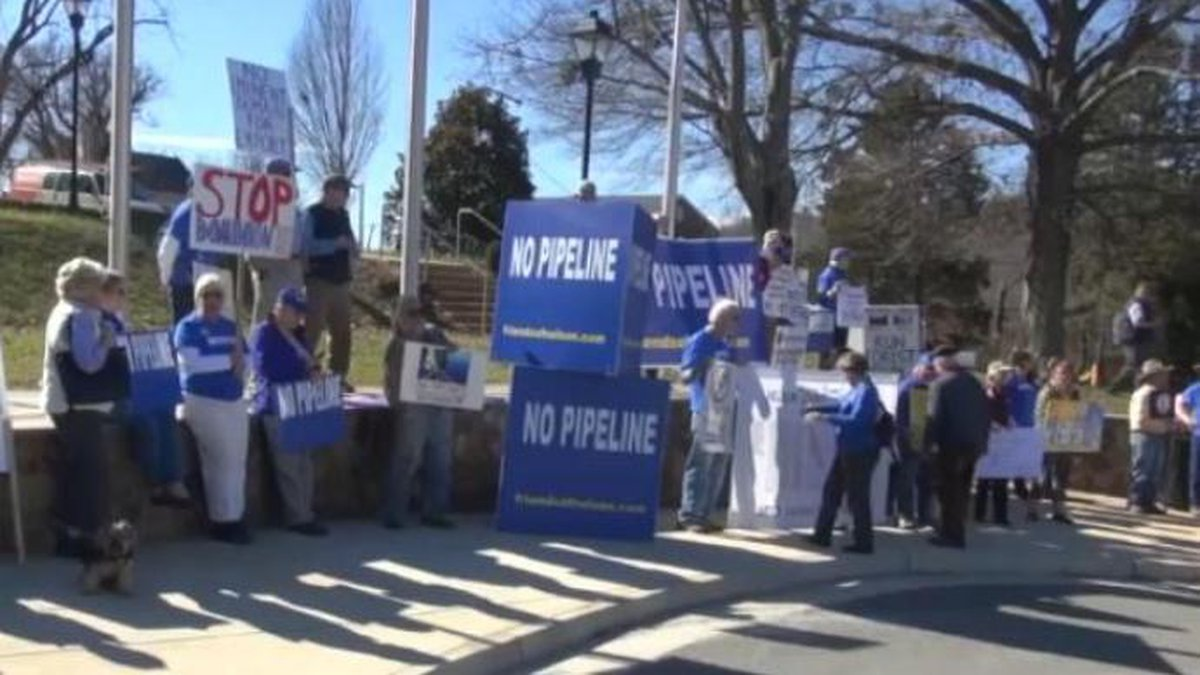 Protesters gather outside of the Nelson County courthouse to protest the Atlantic Coast...