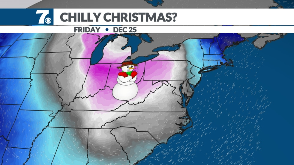 A blast of cold air behind a front will arrive by Christmas Day.