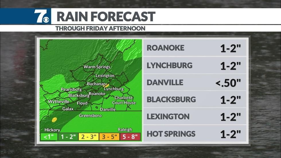 End of week rainfall forecast.