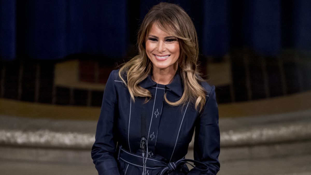First lady Melania Trump smiles during a speech at the Justice Department's National Opioid Summit at the Department of Justice, Friday, March 6, 2020, in Washington. (AP Photo/Andrew Harnik)