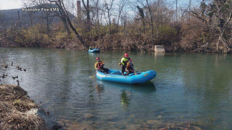 Two boat teams searched along the Roanoke River for the missing person, who is believed to be a...