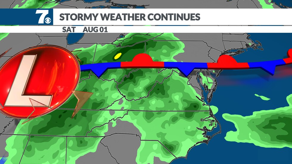 Another system will ride along the front keeping the chance of showers and storms going.