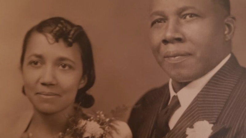 Avicia Thorpe poses for a wedding photo with her late husband, the Rev. Charles Manley Thorpe....