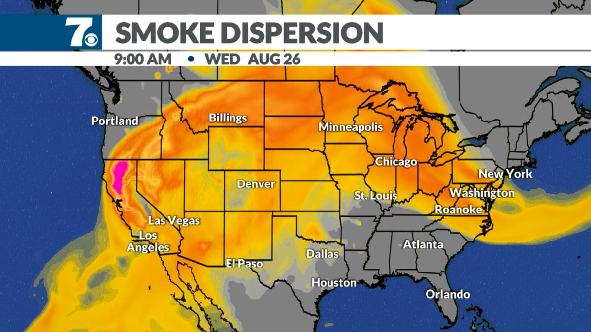 Smoke from the California fires has traveled thousands of miles across the country in the jet stream.