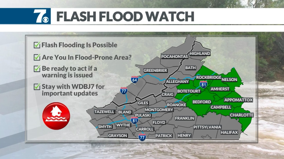 Flash Flood Watches have been issued for heavy rain through Thursday.