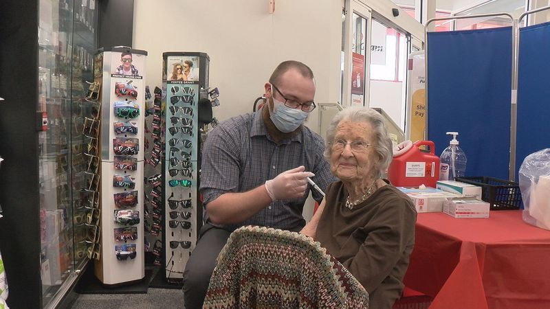 103-year-old Pauline Kincer received a dose of the Moderna COVID-19 vaccine on her birthday.