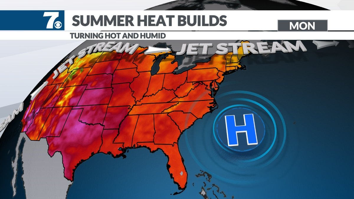 Highs back into the 90s in many areas.