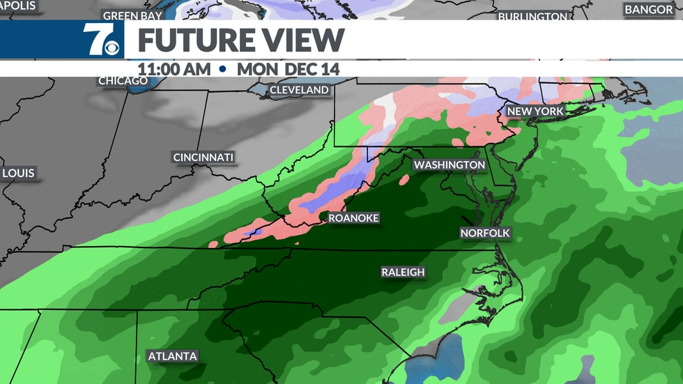Monday looks like a mainly rainy forecast with some snow in the mountains.
