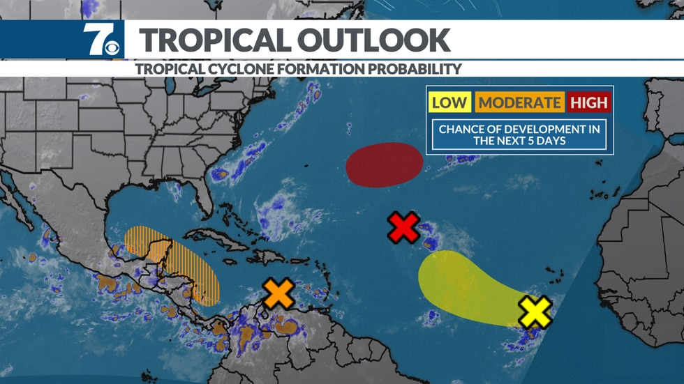 The tropics are getting active once again with three areas being monitored for development.