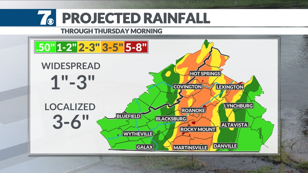 The heaviest rain is expected along either side of the mountains through Wednesday night.
