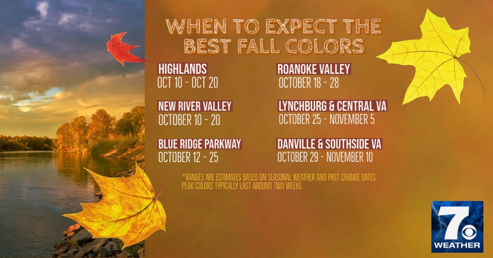 A look of the peak times to check out the fall foliage in Southwest and Central Virginia.