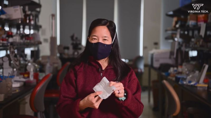 Virginia Tech airborne disease transmission expert, Dr. Linsey Marr, demonstrates how to...
