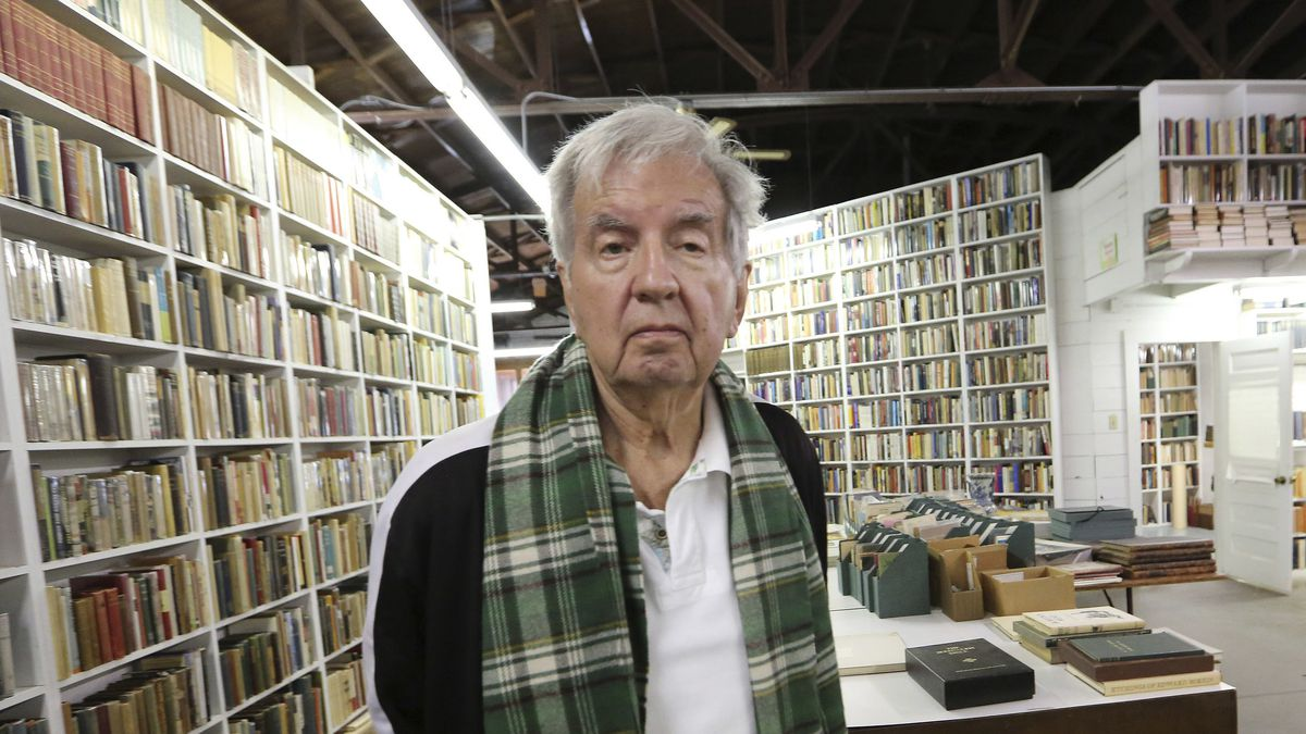 FILE - In this April 30, 2014, file photo, Pulitzer Prize-winning author Larry McMurtry poses...