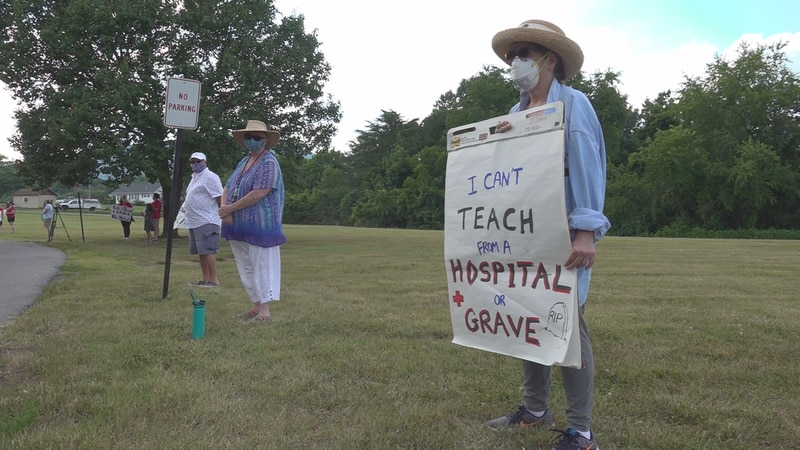 Teachers gathered outside a Roanoke County School Board meeting last month to call for an...