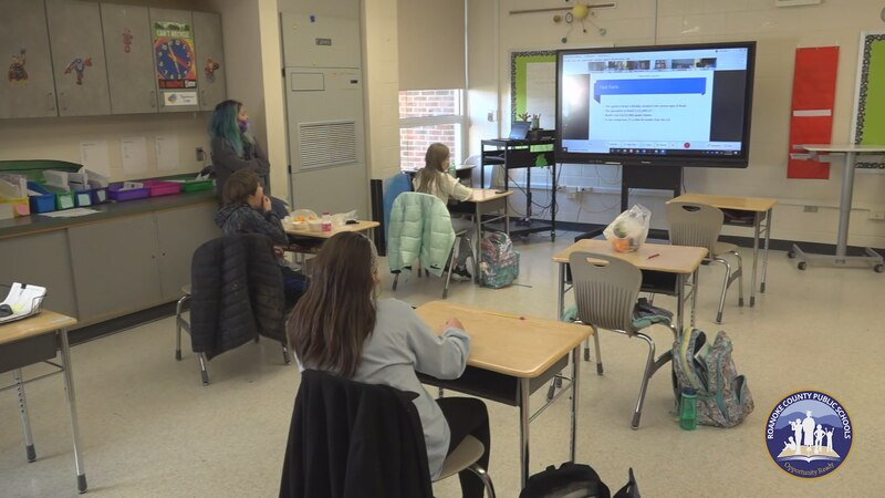 A Roanoke County Schools image shows a recent socially distanced classroom.